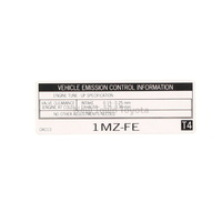 Genuine Toyota Engine Emmisions Information Label Avalon 1995-2005 11298-0A010