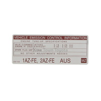 Genuine Toyota Engine Emmisions Information Label